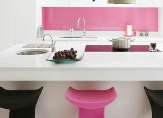 pembe temalı mutfak konsepti