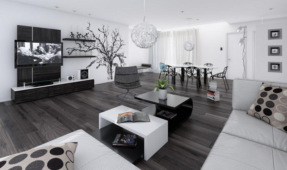 siyah beyaz ev dekorasyonu 2