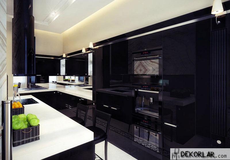 Siyah Mutfak Tasarımı - 1