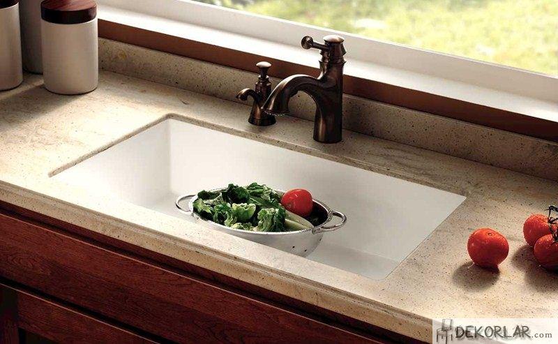 Akrilik Mutfak Tezgahı Modeli Corian