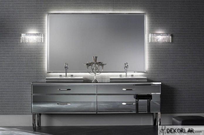 Lüks Banyo Dolabı Modelleri - Gri Modern Banyo Dolabı